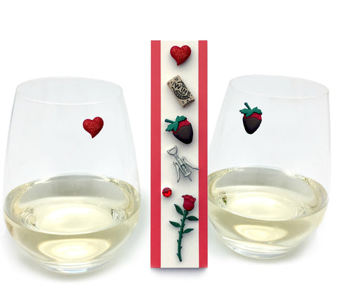 Valentine wine glass charms