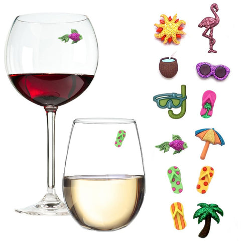 beach magnetic wine glass charms