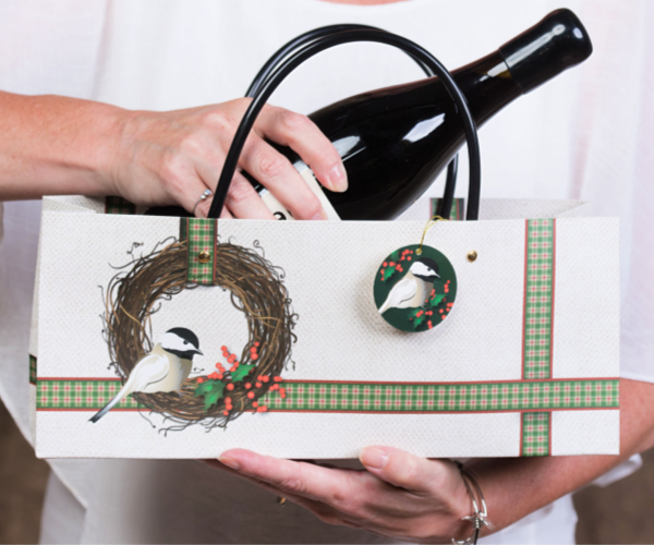 Chickadee Holiday Wine Gift Bag