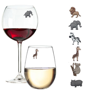 animal wine glass markers charms