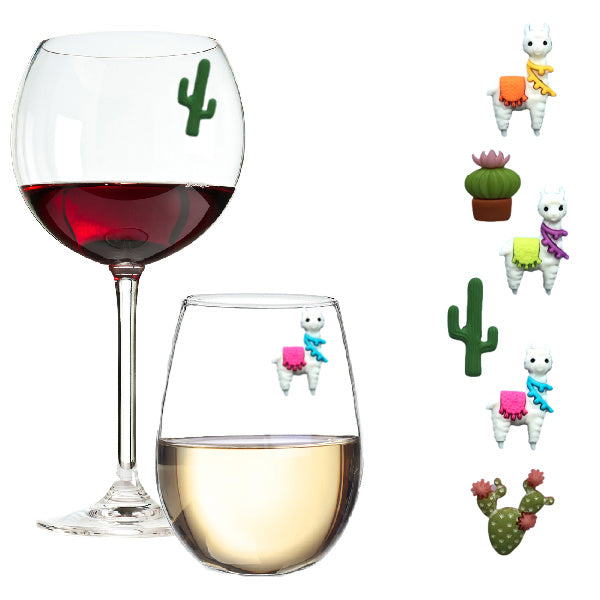 Llamas and Cactus Magnetic Wine Glass Charms