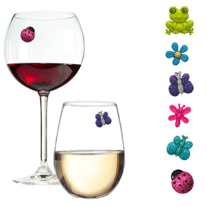 frog butterfly ladybug wine charms