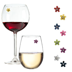 flower crystal wine charms