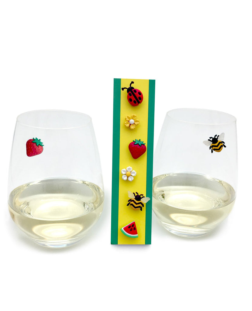 wine glass charms stemless magnetic