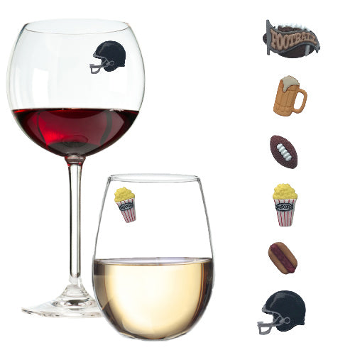 football tailgating wine charms