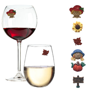 Thanksgiving fall wine glass charms
