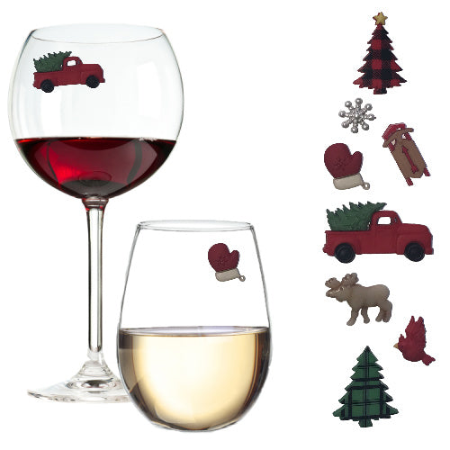 Vintage Red Truck Winter Wonderland Wine Glass Charms