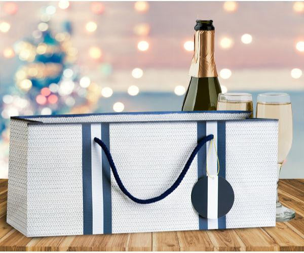 White Nautical Wine Gift Bag