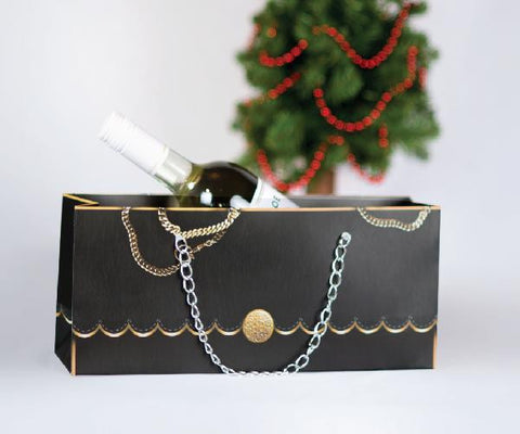 black purse wine gift bag