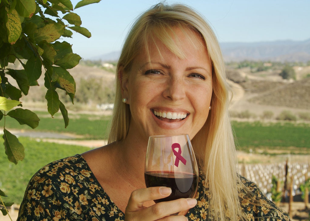 wine charms Breast Cancer Awareness