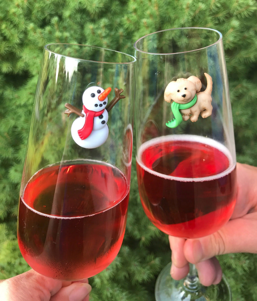 winter dog wine glass charms magnetic