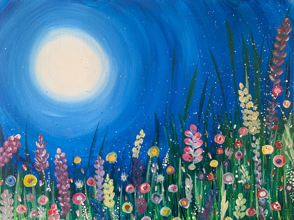 Paint Your Own Canvas -  Moonlight Garden - Tutorial Download Kit