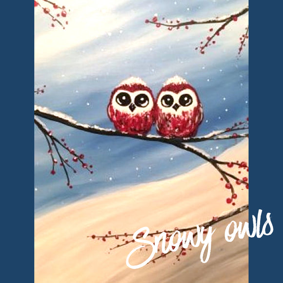 KIDS CHRISTMAS OWLS ZOOM Paint Night MONDAY 14th DEC 2020 5PM - 6:15PM