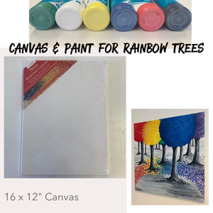 Rainbow Trees - Canvas & Paints