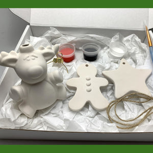 Paint Your Own Pottery Christmas Tree Decorations- Rudolph Edition