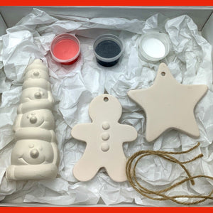 Paint Your Own Pottery Christmas Tree Decorations - Snowman Edition