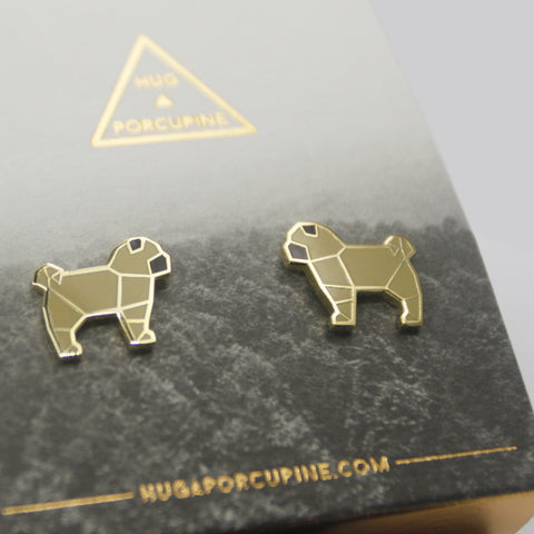 八哥摺紙耳環 Pug Origami Earrings