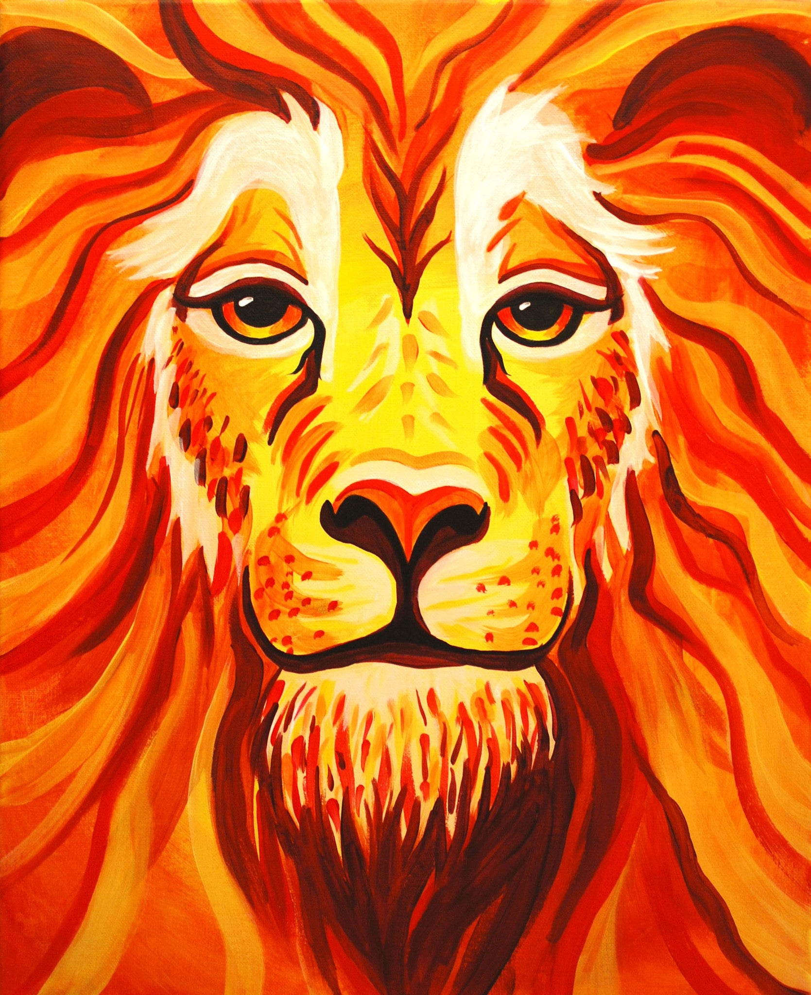 paint date portrait of a lion