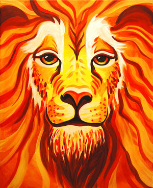 bright portrait of a lion in acrylic paint
