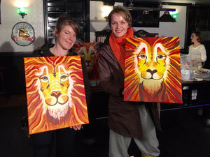 completed lion paintings