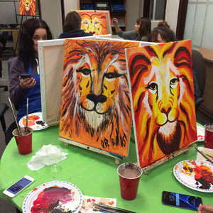 completed step-by-step lion portraits
