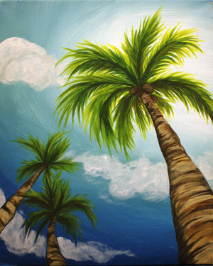 acrylic painting tropical palm trees