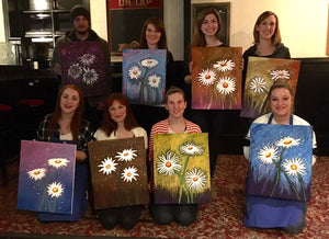 Group shot of talented new artists and their Daisy Paintings