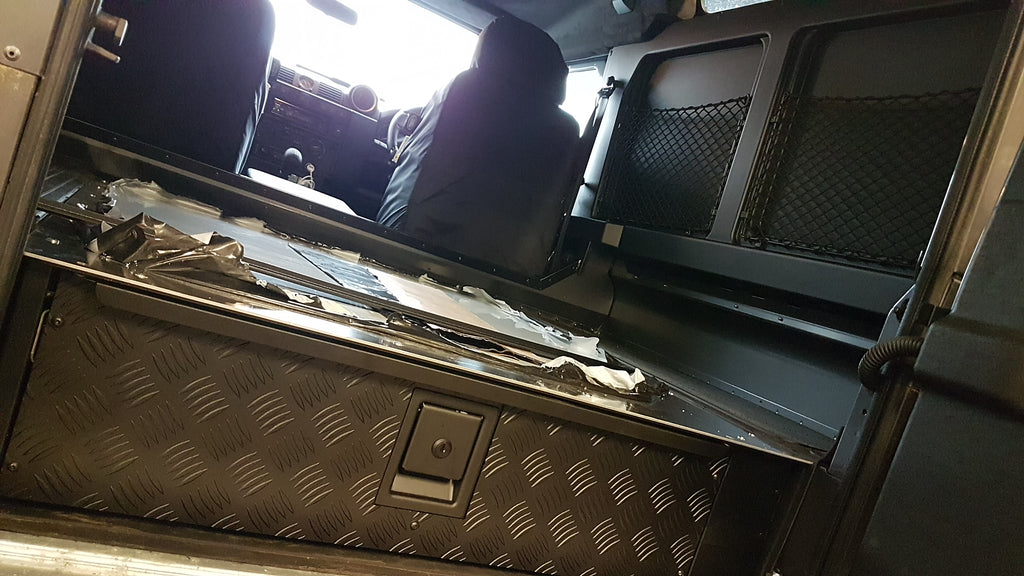 Land Rover Defender 90 Interior Trim, Carpeted Load Area Drawer and Glove Box
