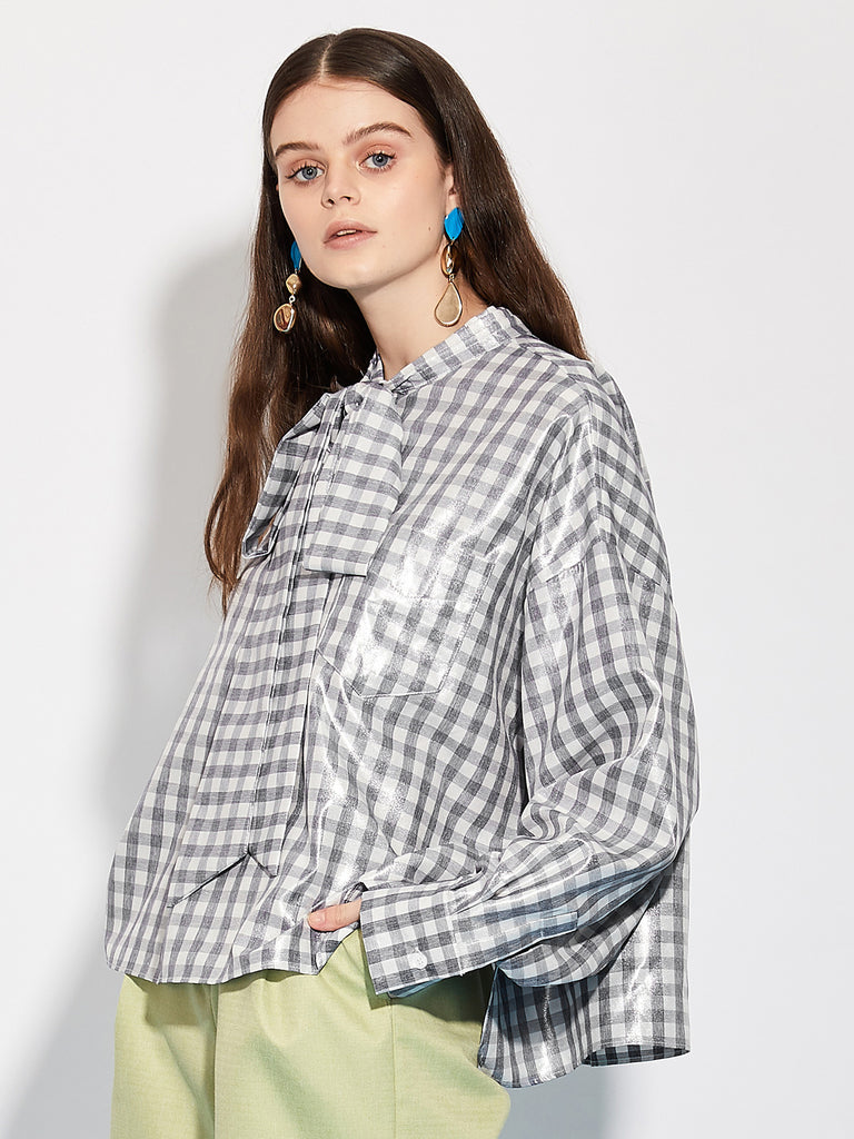 Mall Check Neck Tie Shirt