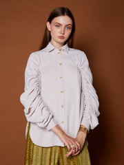 Elegant Age Ruched Sleeve Shirt