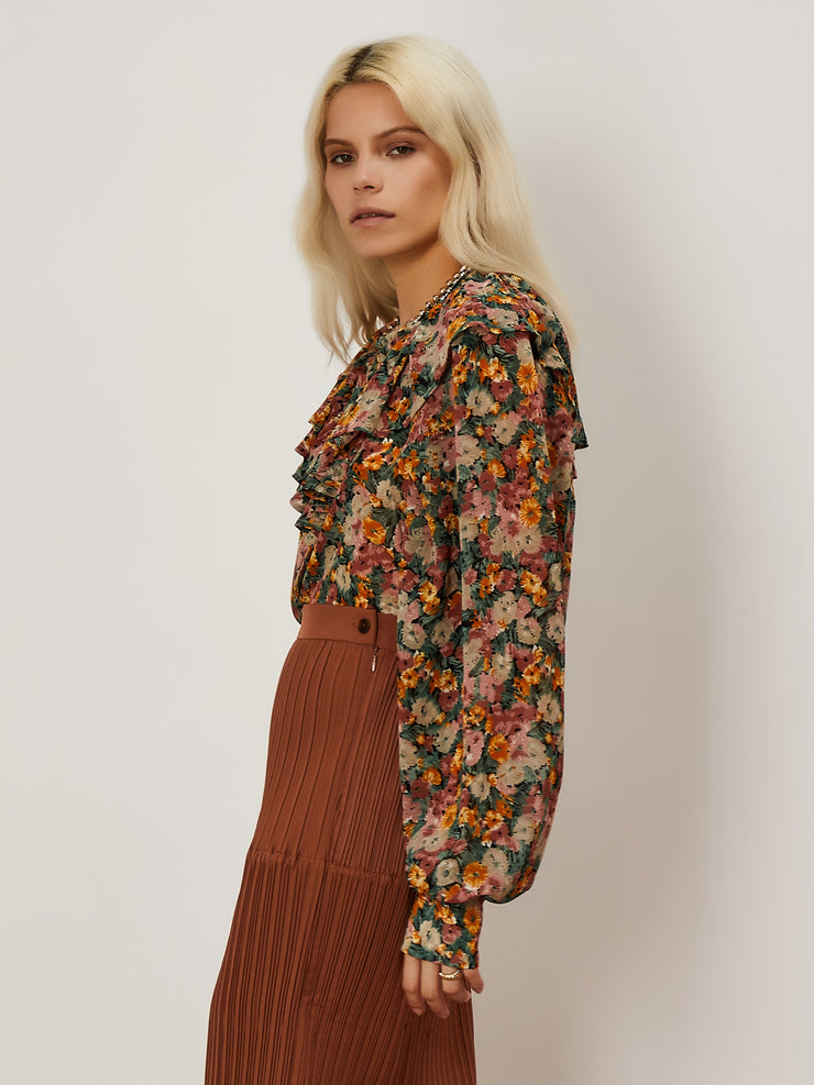 Composition Floral Ruffle Blouse