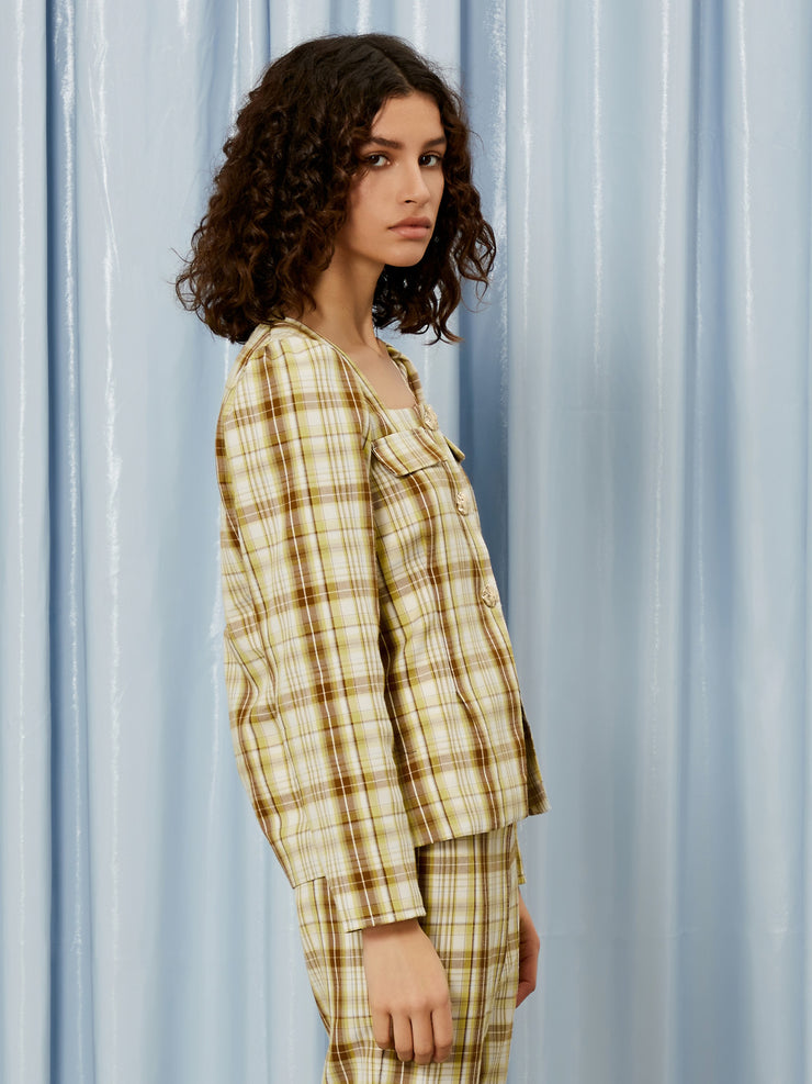 Narrative Check Lightweight Overshirt