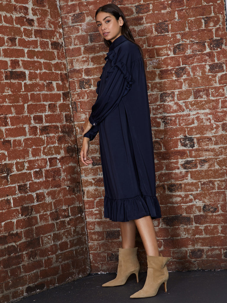 Mortar Ruffle Midi Dress