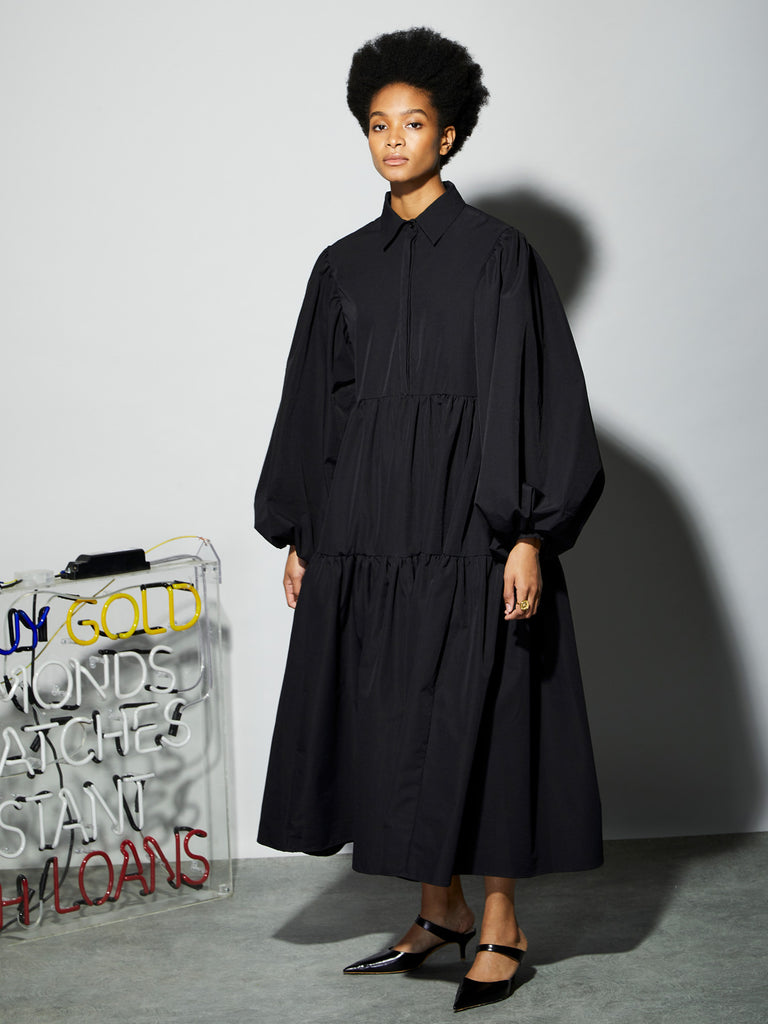 Blackout Tiered Maxi Shirt Dress