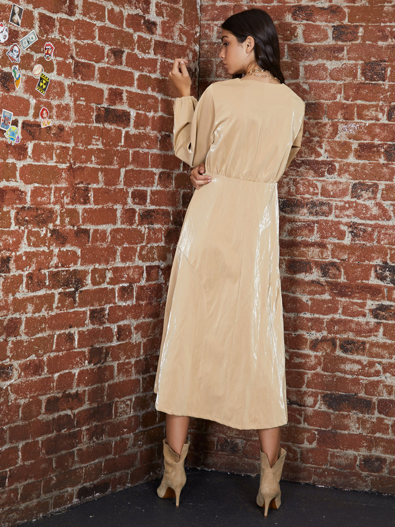 Cache Faux Leather Midi Dress