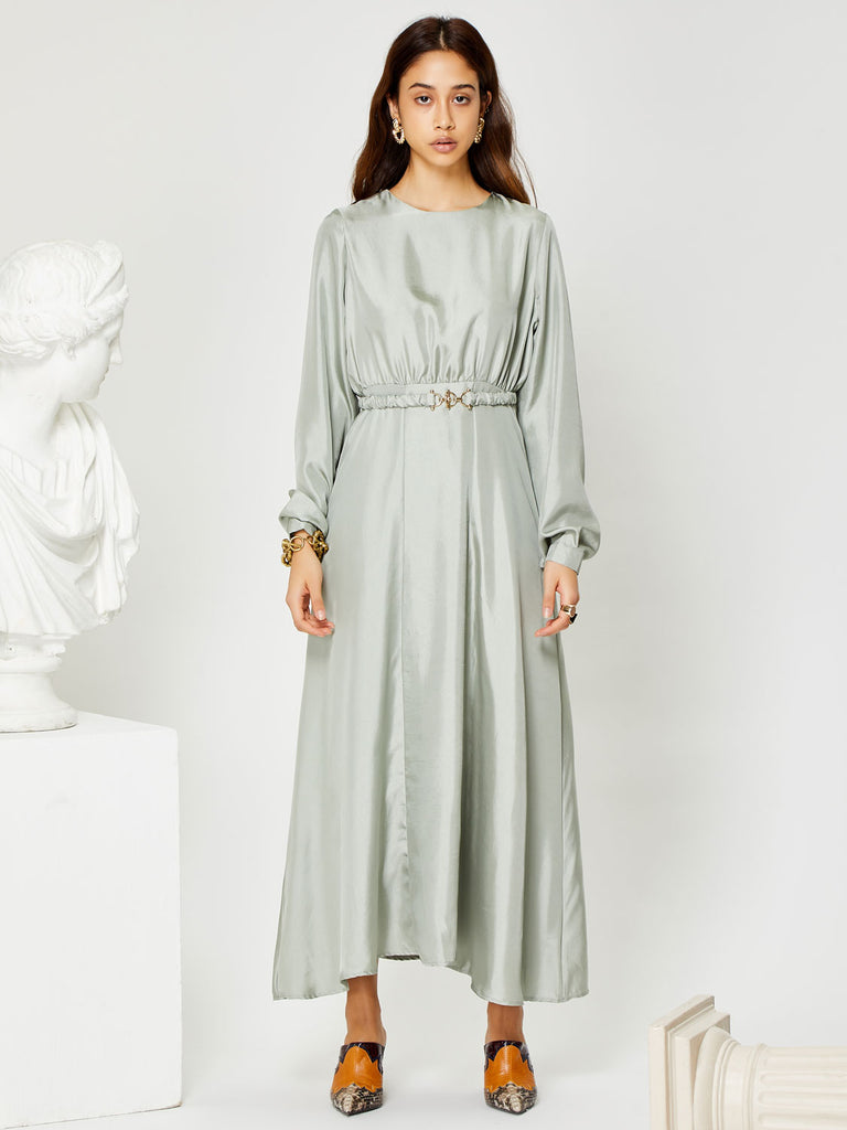 Marble Midi Dress with Belt