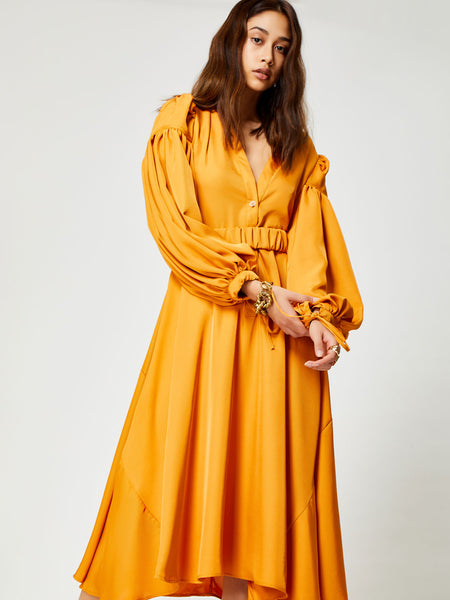 Terracotta Midi Dress with Belt