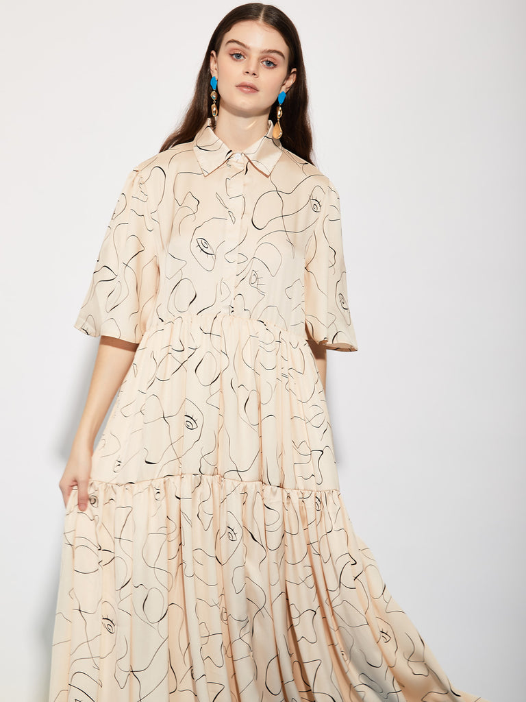 Scribble Tiered Maxi Shirt Dress