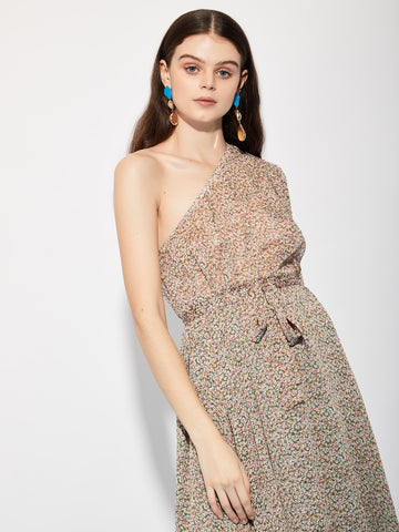 Bouquet One Shoulder Midi Dress