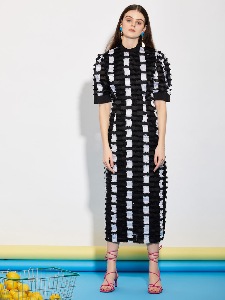 Dispense Check Tie Back Midi  Dress
