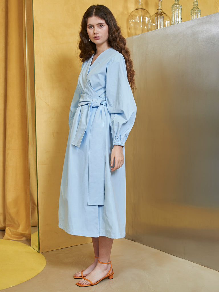 Arctic Blue Midi Wrap Dress