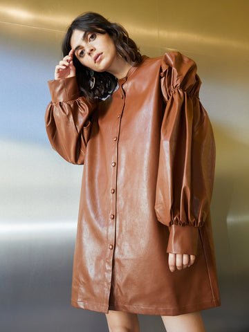 Definition Faux Leather Shirt Dress