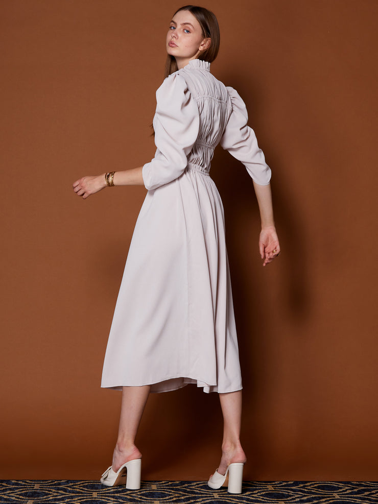 Elegant Age Ruched Midi Dress