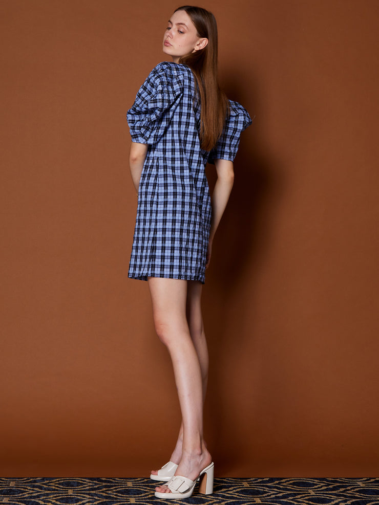 Marquetry Check Puff Sleeve Mini Dress