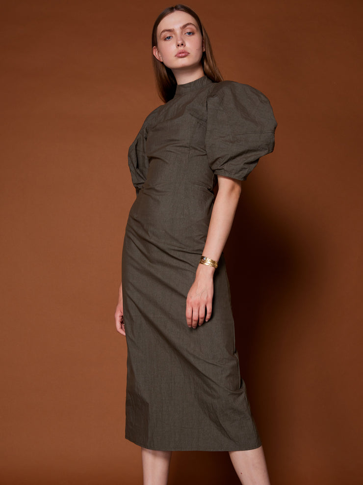 Embark Puff Sleeve Midi Dress