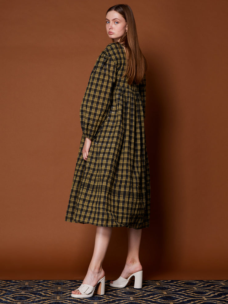 Marquetry Check Open Back Midi Dress