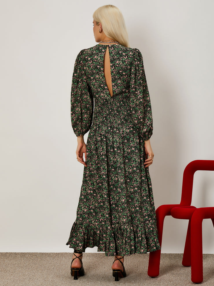 Floral Collage Shirring Maxi Dress