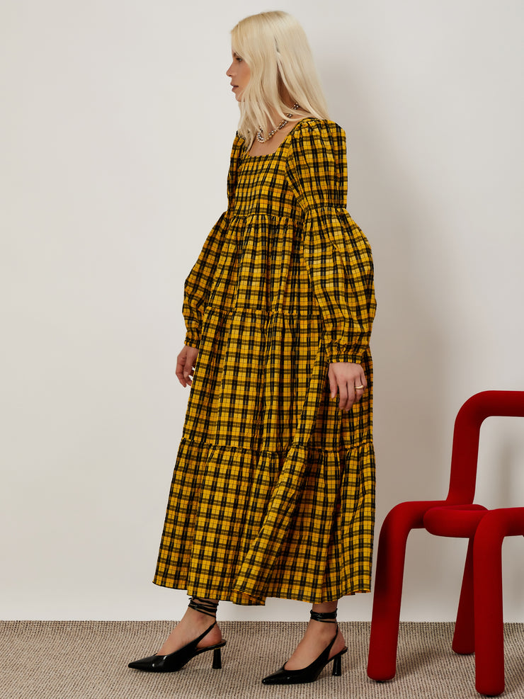 Emphasis Check Midi Dress