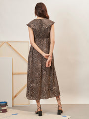 Frame Shirring Midi Dress