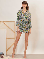 Figurative Ruched Shirt Dress